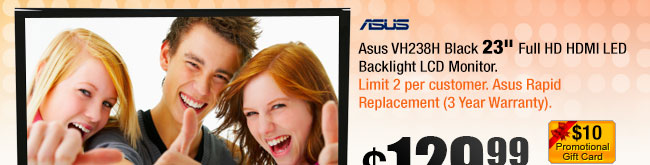 "Asus VH238H Black 23"" Full HD HDMI LED Backlight LCD Monitor"
