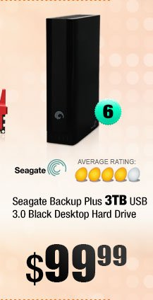 Seagate Backup Plus 3TB USB 3.0 Black Desktop Hard Drive