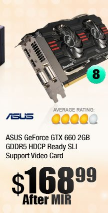 ASUS GeForce GTX 660 2GB GDDR5 HDCP Ready SLI Support Video Card