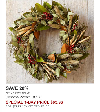 "SAVE 20% - NEW & EXCLUSIVE - Sonoma Wreath, 18"" - SPECIAL 1-DAY PRICE $63.96 - REG. $79.95, 20% OFF REG. PRICE"