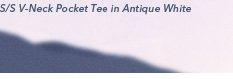 S/S V-Neck Pocket Tee in Antique White
