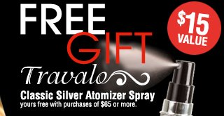 FREE GIFT with purchases of $65 or more. Travalo Classic Silver Atomizer Spray