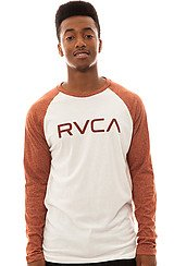 The Big RVCA 3/4 Sleeve Tee in Vintage White and Picante