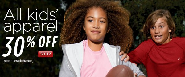 SHOP Kids' Apparel 30% Off
