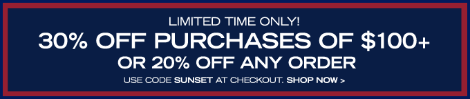 Take 30% off purchases of $100 or more!