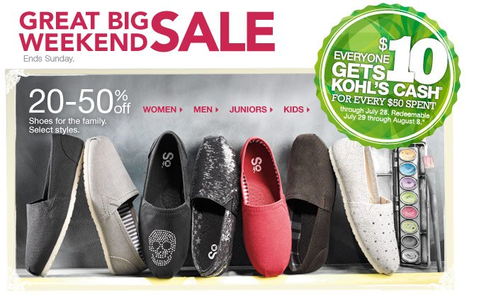 20-50% off Shoes for the family. Select styles.