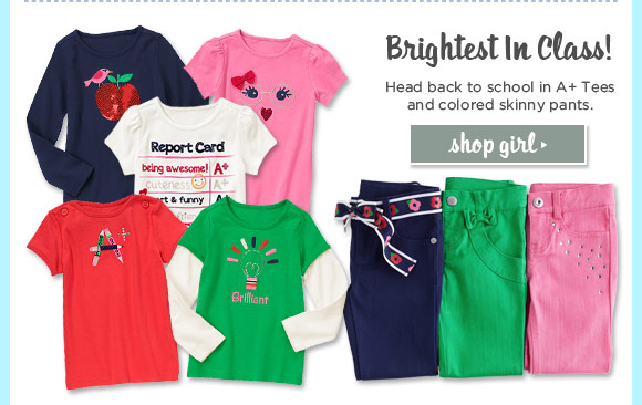 Brightest In Class! Head back to school in A+ Tees and colored skinny panys. Shop Girl.