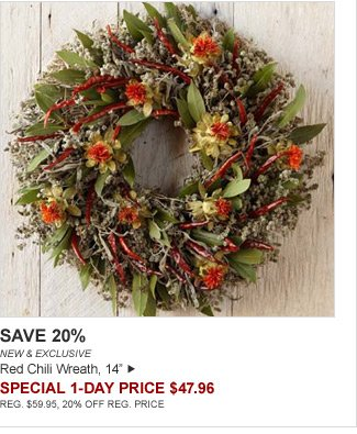 "SAVE 20% - NEW & EXCLUSIVE - Red Chili Wreath, 14"" - SPECIAL 1-DAY PRICE $47.96 - REG. $59.95, 20% OFF REG. PRICE"