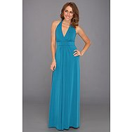 Jessica Simpson Halter Maxi Dress w/ Elastic Gathered Front