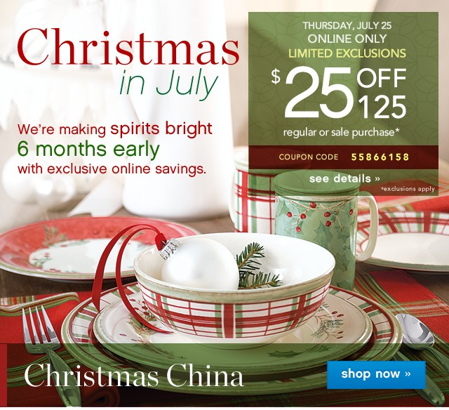 Christmas in July. $25 off $125. See details.