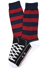 The Rugby Sneaker Socks in Red & Navy