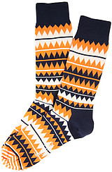 The Zig Zag Socks in Orange Multi