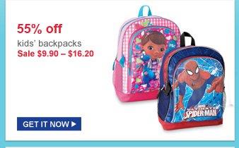 55% off | kids backpacks | sale $9.90 - $16.20 | get it now