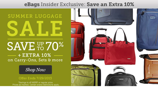 Summer Luggage Sale. Save up to 70% + an Extra 10% on Carry-ons, Sets & More. Shop Now.