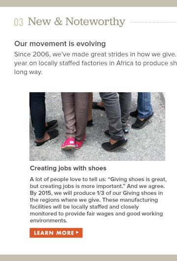Our movement is evolving - creating jobs with shoes