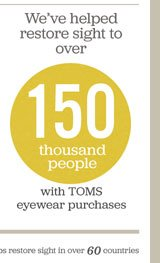We've helped restore sight to over 150 thousand people with TOMS eyewear purchases