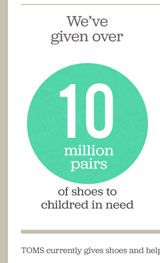 We've given over 10 million pairs of shoes to children in need