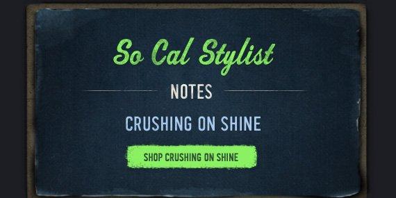 SO CAL STYLIST NOTES CRUSHING ON SHINE SHOP CRUSHING ON SHINE