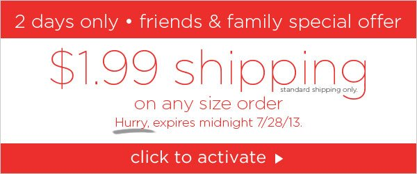 $1.99 Shipping two days only