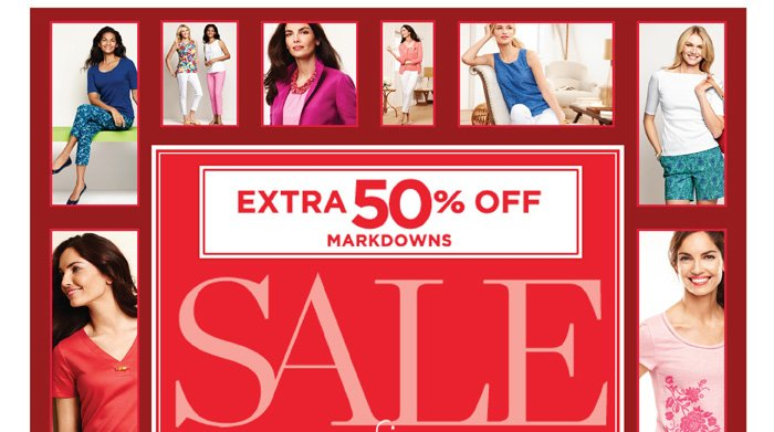 Extra 50% off Markdowns. Red Hanger Clearance. Save up to 75%. Save an extra 5% when you use your Talbots credit card. Shop Sale. Find a Store. Prices online reflect discount.
