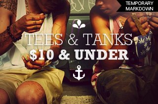 Tees & Tanks $10 & Under