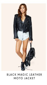 Black Magic Leather Moto Jacket