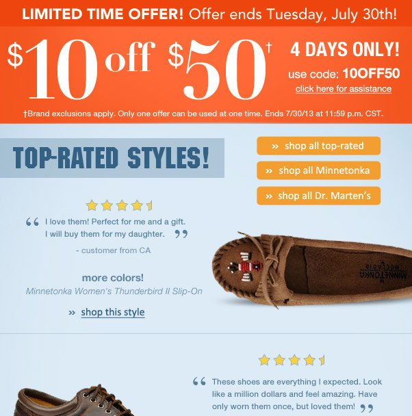 $10 Off $50 + Shop Top-Rated Styles!