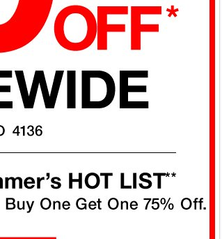 BONUS: 50% off storewide & online EXTENDED 1 DAY! Hurry, shop NOW!