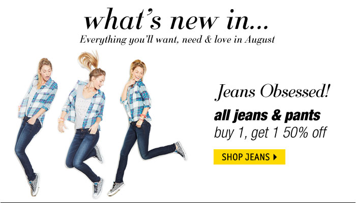 jeans & pants buy 1 get 1  50% off