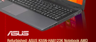 "Refurbished: ASUS K55N-HA8123K Notebook AMD A-Series A8-4500M(1.90GHz) 15.6"" 4GB Memory 500GB HDD"