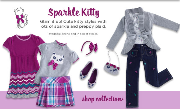 Sparkle Kitty. Glam it up! Cute styles with lots of sparkle and preppy plaid. Shop Collection