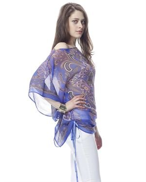 Classique Ornament Printed Butterfly Sleeves Tunic