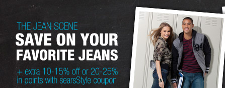 THE JEAN SCENE | SAVE ON YOUR FAVORITE JEANS + extra 10-15% off or 20-25% in points with searsStyle coupon