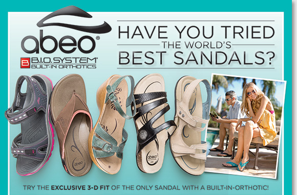 Have you tried the world's best sandals? Try the exclusive 3-D fit comfort of ABEO B.I.O.system, the only sandals with built-in orthotics! B.I.O.system's 3-D fit is designed to support your feet, balance weight distribution, increase stability, and reduce foot fatigue. Shop now to find the best selection online and in stores at The Walking Company.