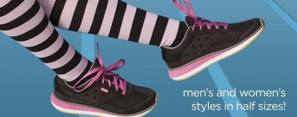 men's and women's styles in half sizes!