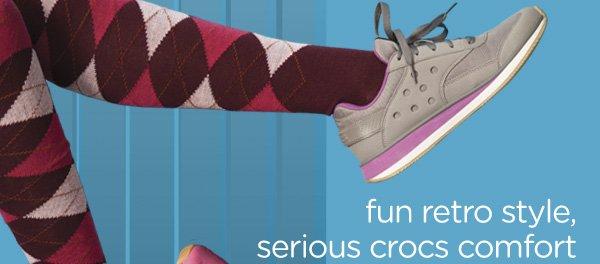 fun retro style, serious crocs comfort
