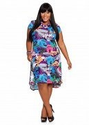 Tropical Boat Neck Hi-lo Dress