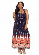 Double Strap Abstract Print Maxi