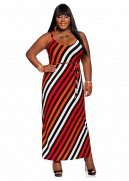 Asymmetrical Stripe Maxi Dress