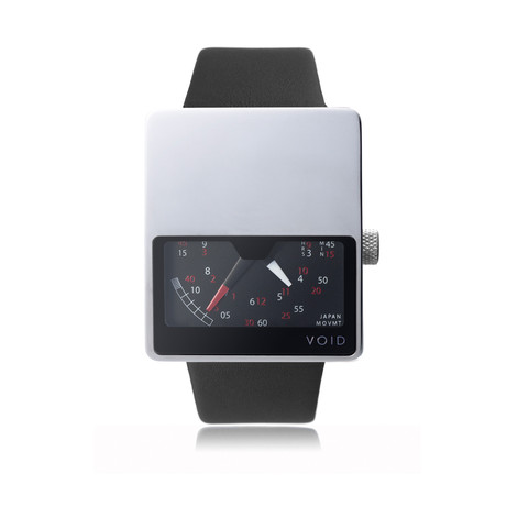 Analogue Watch // Polished w/ Black Leather Strap