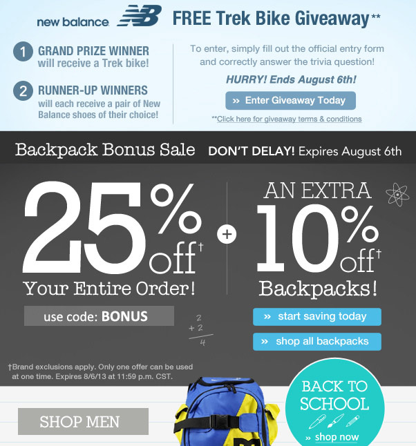 25% Off + An Extra 10% Off Backpacks!