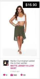 Matte jersey hi-low skirt