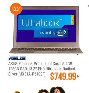ASUS Zenbook Prime Intel Core i5 4GB 128GB SSD 13.3 inch FHD Ultrabook Radiant Silver (UX31A-R5102F)
