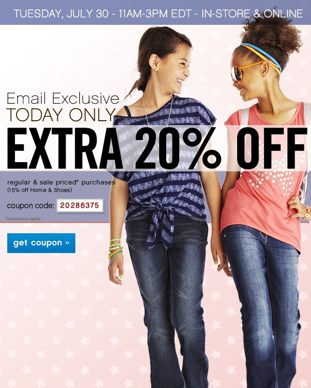 Email Exclusive. Today Only Extra 20% off. Get coupon.