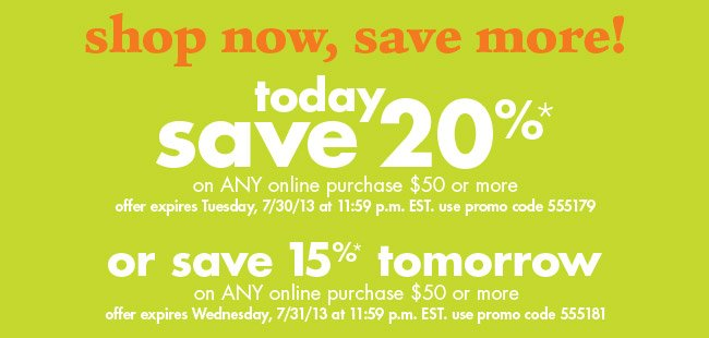 shop now, save more!
