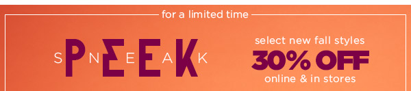 Sneak Peak! 30% Off!