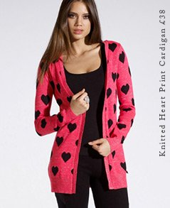 Knitted Heart Print Cardigan