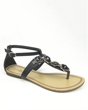 Cherish Flower Embellished Thong Sandals