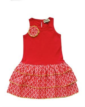 Sophie Catalou Girls Color Block Frill Dress