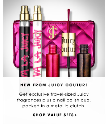 NEW FROM JUICY COUTURE. Get exclusive travel-sized Juicy fragrances plus a nail polish duo, packed in a metallic clutch. SHOP VALUE SETS